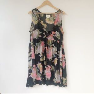 Anthropologie Maeve Black Floral Dress